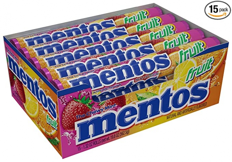 ihocon: Mentos Chewy Mint Candy Roll, Fruit, Halloween Treat, Non Melting, Party, 14 Pieces (Bulk Pack of 15) 曼陀珠薄荷水果糖