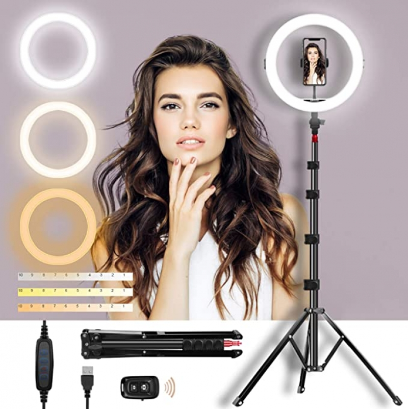 ihocon: Mirocoo 11 Inch Dimmable LED Selfie Ring Light with Adjustable Tripod Stand & Phone Holder自拍環形燈/手機架