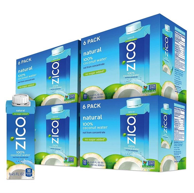 ihocon: ZICO Premium Natural Coconut Water Drinks, No Sugar Added Gluten Free, 8.45 Fluid Ounce (Pack of 24) 椰子