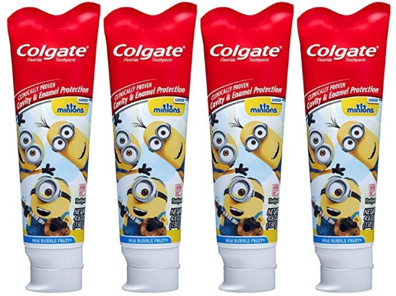 ihocon: Colgate Kids Toothpaste with Anticavity Fluoride Featuring Minions, Mild Bubble Fruit Gel - 4.6 ounces (4 Pack) 高露潔含氟兒童牙膏