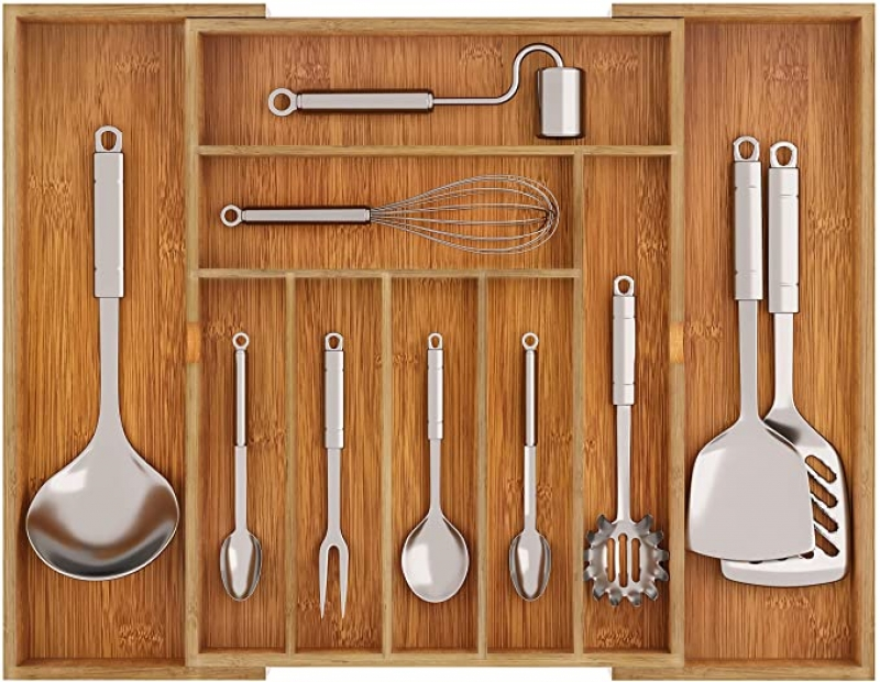ihocon: BAMEOS Drawer Organizer Bamboo Silverware Holder 竹製可擴抽屜收納盒