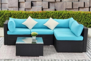 ihocon: Boyel Living Black 5-Piece PE Wicker Outdoor Patio Sectional Sofa with Blue Cushions 籐編庭園沙發組