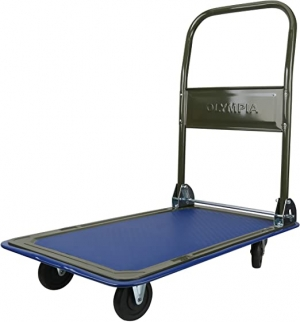 ihocon: Olympia Tools 85-180 Folding & Rolling Flatbed Cart for Loading, Olive Green with Blue Bumper, 300 Lb. Load Capacity 折疊平板車