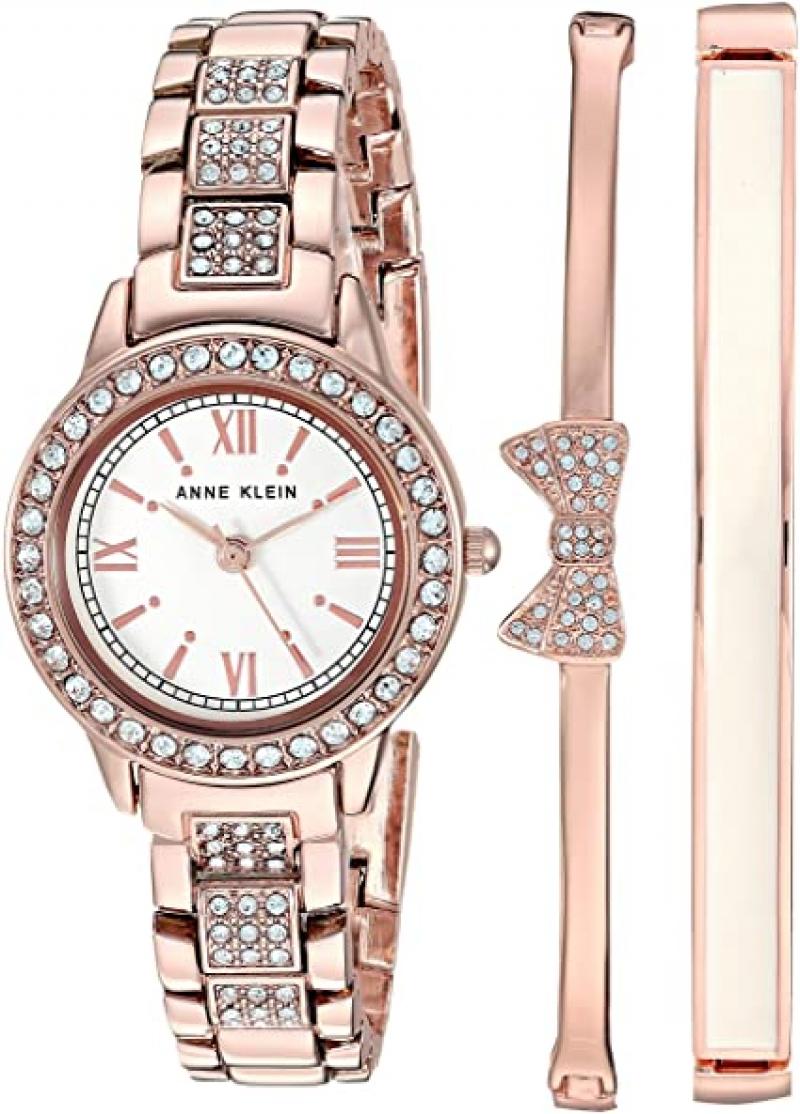 ihocon: Anne Klein Women's Swarovski Crystal Accented Bracelet Watch and Bangle Set施華洛世奇水晶女錶+手鍊套裝