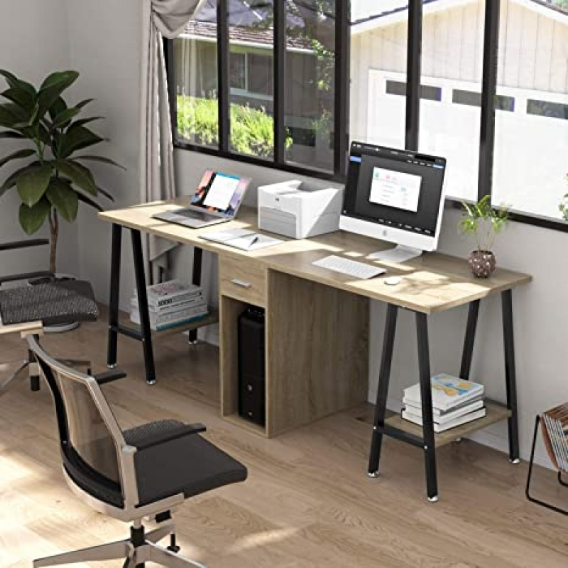 ihocon: DEWEL 78 Inch Two Person Computer Desk with Storage Shelves 雙人電腦桌/工作桌