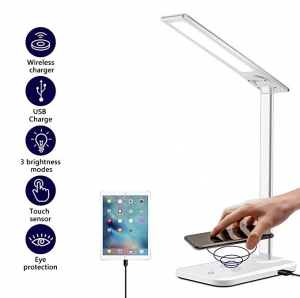 ihocon: AUSPICE LED Desk Lamp with Wireless Charger, Dimmable, 3 Lighting Modes, USB Charger Port內建手機無線充電光線微調桌