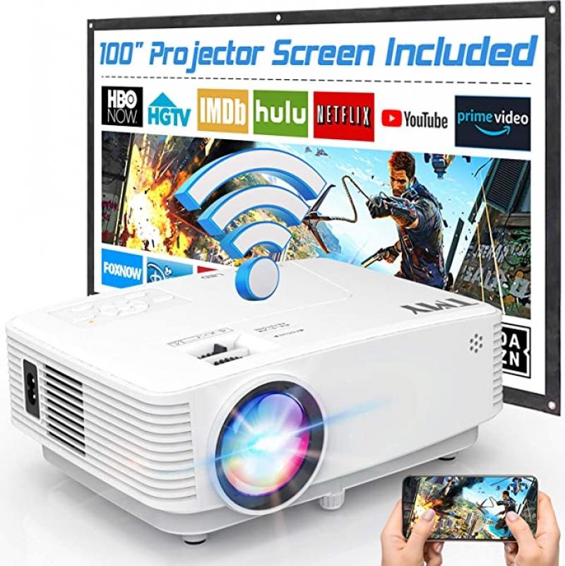 ihocon: TMY V28 Full HD 1080p 5500-Lumens LED Portable Projector with 100″ Screen 家庭劇院投影機+螢幕布