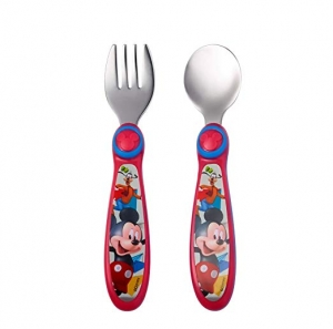 ihocon: The First Years Disney Baby Mickey Mouse Stainless Steel Flatware for Kids 迪士尼米奇兒童不銹鋼叉子湯匙