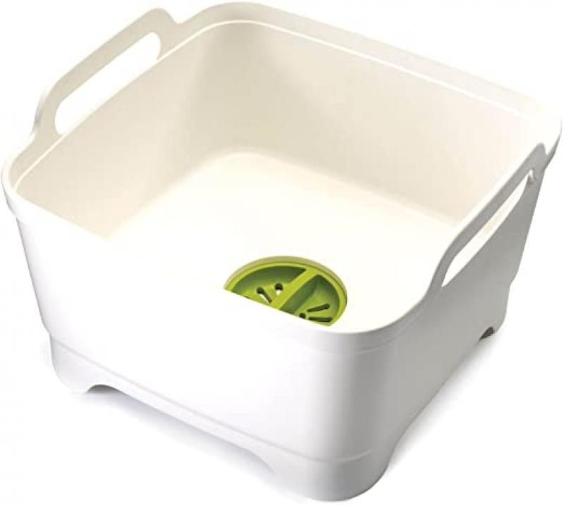 ihocon: Joseph Joseph 85055 Wash & Drain Wash Basin Dishpan with Draining Plug Carry Handles 12.4-in x 12.2-in x 7.5-in, White   洗涤盆含排水塞