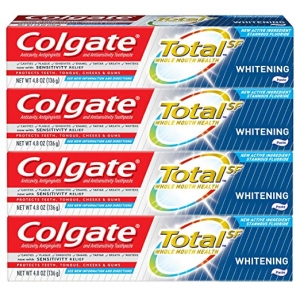 ihocon: Colgate Total Whitening Toothpaste - 4.8 ounce (4 Pack) 高露潔美白牙膏