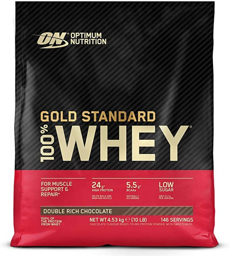 ihocon: Optimum Nutrition Gold Standard 100% Whey Protein Powder, Double Rich Chocolate 10 Pound 乳清蛋白粉, 巧克力口味