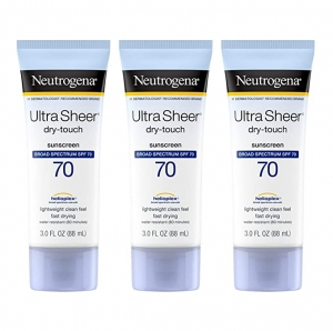 ihocon: Neutrogena Ultra Sheer Dry-Touch Water Resistant and Non-Greasy Sunscreen Lotion with Broad Spectrum SPF 70, 3 fl. Oz (Pack of 3) 露得清防曬乳