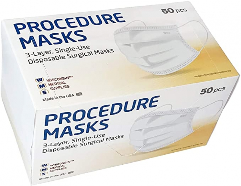 ihocon: [美國製] WMS Wisconsin Medical Supplies, 3-Layer Face Masks, MADE IN USA, 1 Pack (50 PCs) 三層醫用口罩