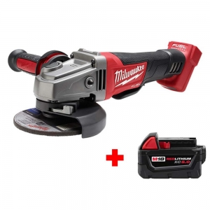 ihocon: Milwaukee M18 FUEL 18-Volt Lithium-Ion Brushless Cordless 4-1/2 in./5 in. Grinder with Paddle Switch with Free M18 5.0Ah Battery無線打磨器及電池