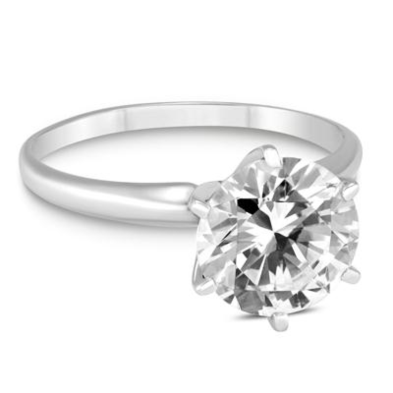 ihocon: PREMIUM QUALITY - 1 Carat Diamond Solitaire Ring in 14K White Gold (G-H Color, SI1-SI2 Clarity) 14K白金1克拉鑽石戒指