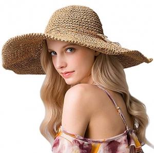 ihocon: Sun HatLarge Wide BrimFoldableSummerBeach FedoraFloppyStraw Hatfor Women UV-Protective寬邊可折疊遮陽女帽-2色可選