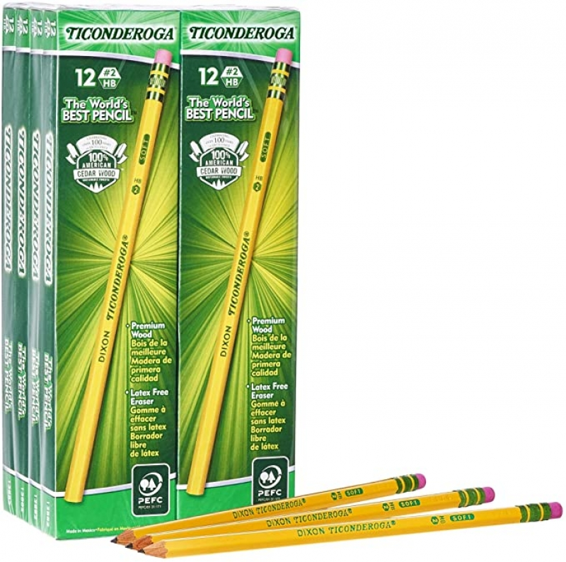 ihocon: TICONDEROGA Pencils, Wood-Cased, Unsharpened, Graphite #2 HB Soft, Yellow, 96-Pack 鉛筆