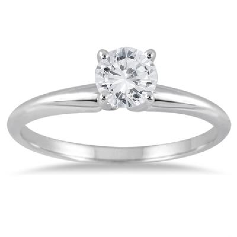 ihocon: AGS Certified 1/3 Carat Round Diamond Solitaire Ring in 14K White Gold