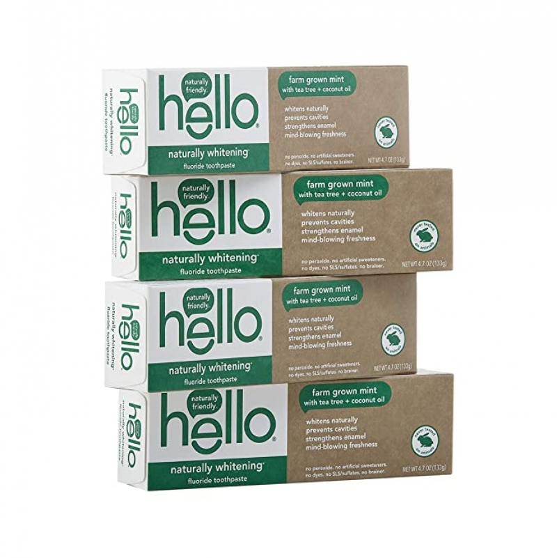 ihocon: Hello Naturally Whitening Toothpaste with Fluoride, 4.7 Ounce (Pack of 4) 天然含氟的美白牙膏