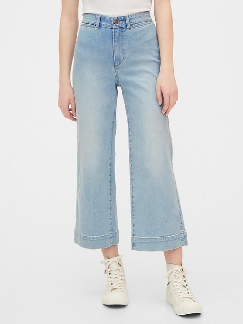ihocon: Gap High Rise Wide-Leg Crop Pants 高腰闊腿九分牛仔褲