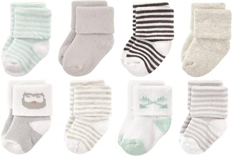 ihocon: Luvable Friends Unisex Baby Newborn and Baby Terry Socks 嬰兒襪 8雙