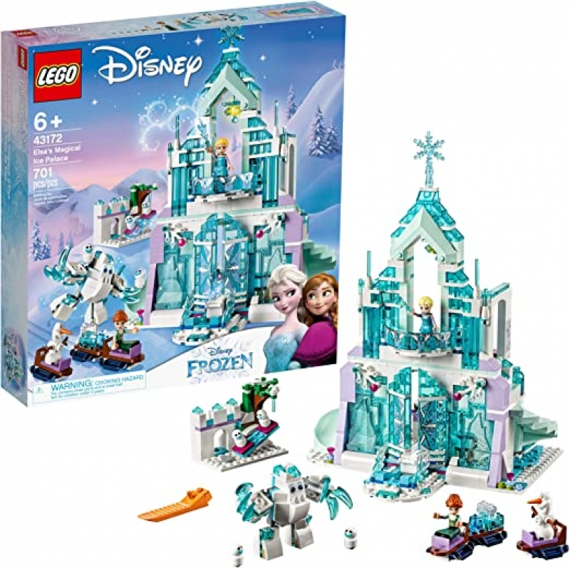 ihocon: 樂高積木LEGO Disney Princess Elsa's Magical Ice Palace 43172 Toy Castle Building Kit with Mini Dolls, Castle Playset with Popular Frozen Characters including Elsa, Olaf, Anna and more (701 Pieces)