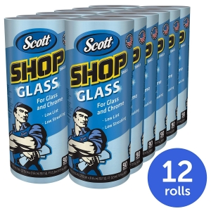 ihocon: Scott 32896 Shop Towels, Glass, 1-Ply, 8.6 x 11, Blue, 90 Sheets per Roll (Case of 12 Rolls) 擦玻璃,擦車紙巾
