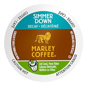 ihocon: Marley Coffee Single Serve K-cup Capsules, Simmer Down Decaf, Dark Roast, Keurig Brewer Compatible, 24 Count 咖啡膠囊