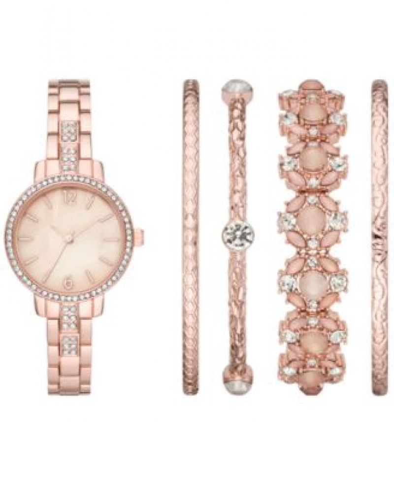ihocon: Folio Women's Rose Gold-Tone Stainless Steel Bracelet Watch 28mm Gift Set 女士玫瑰金手鍊手錶禮品套裝