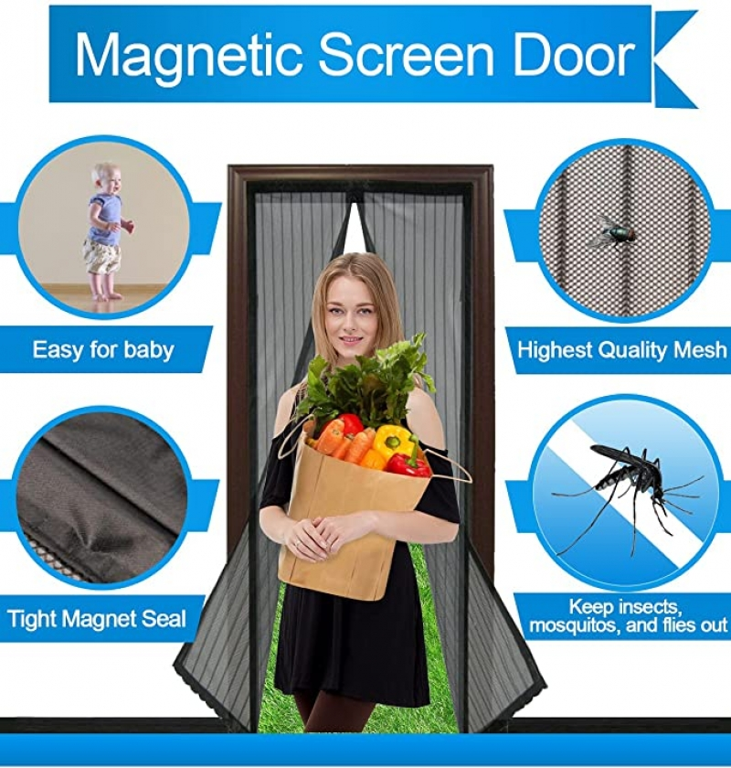 ihocon: SOTEN Magnetic Screen Door,Fit Doors Up To 34x82 磁性紗門