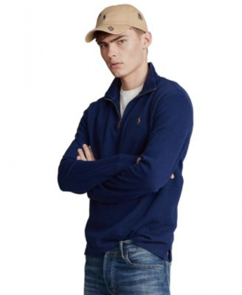 ihocon: Polo Ralph Lauren Men's Estate-Rib Cotton Quarter-Zip Pullover男士拉鍊套頭衫-多色可選