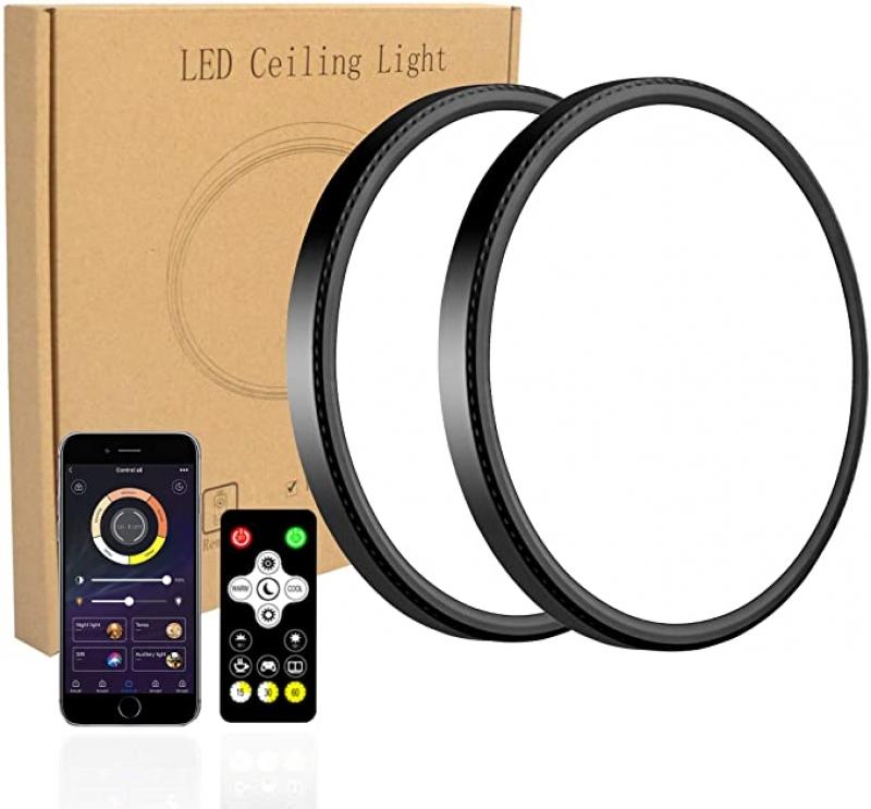 ihocon: Modern 12 Inch 28W Smart LED Flush Mount Ceiling Light, Smart app Control, Two Packm 智能光線微調天花板燈