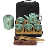 ihocon: Fuloon Chinese Kungfu Tea Set Portable Travel Ceramic Porcelain Tea Ware Teapot & Teacups & Tea Tray 便攜式功夫茶具, 含收納袋