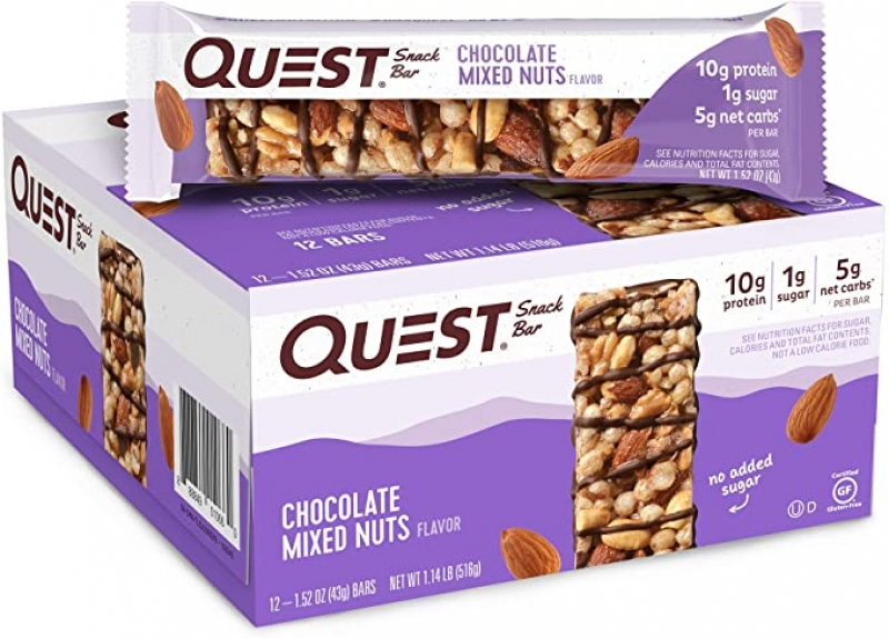 ihocon: Quest Nutrition Chocolate Mixed Nuts Snack Bar, High Protein, Low Carb, Gluten Free, Keto Friendly,18.24 oz, 1.52 Ounce (Pack of 12) 高蛋白無麩點心棒