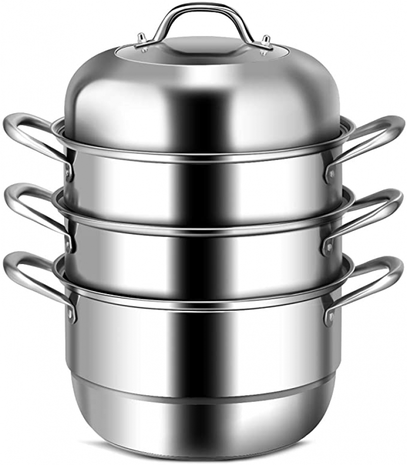 ihocon: COSTWAY 3-Tier Stainless Steel Steamer, 11吋三層不銹鋼蒸鍋