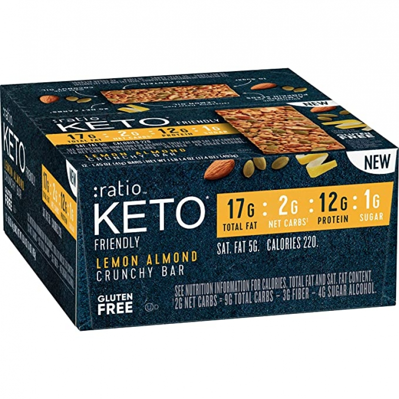 ihocon: :ratio KETO friendly Lemon Almond Crunchy Bar, Gluten Free, 12 ct Box 無麩點心棒