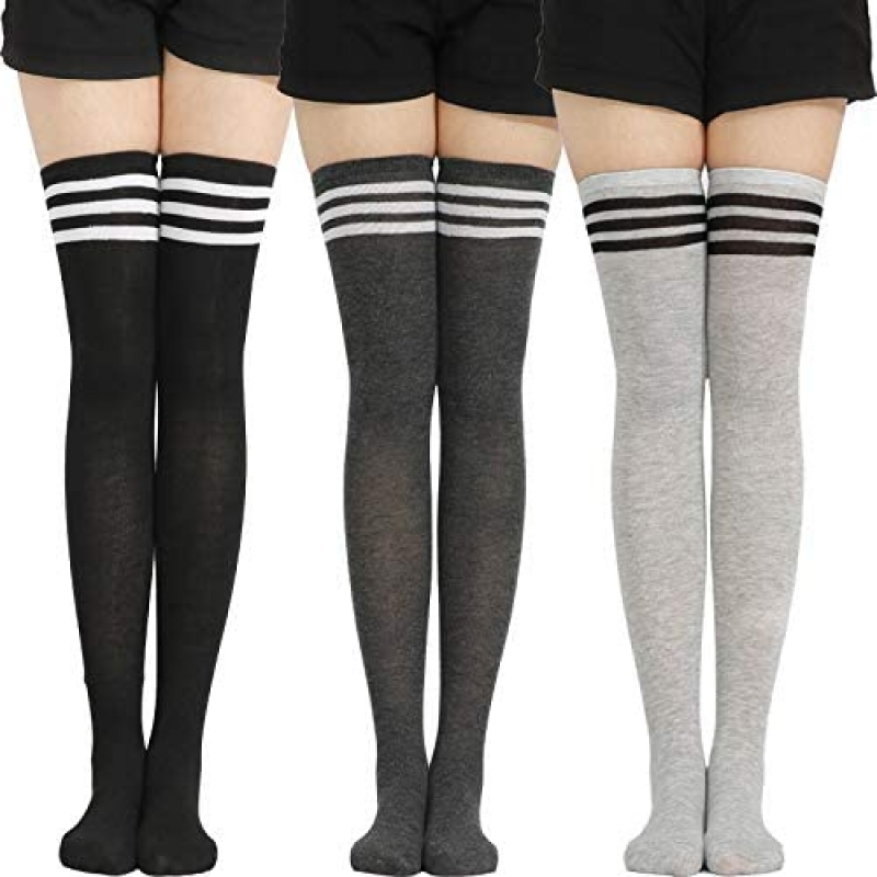 ihocon: Womens & Gilrs Socks Thigh High Stripped Socks Over Knee 3-Pair Pack 過膝女襪
