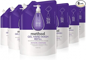 ihocon: Method Gel Hand Soap Refill, French Lavender, 34 Fl Oz (Pack of 6) 洗手液皂補充包, 法國薰衣草香味