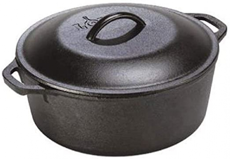 ihocon: Lodge 5 Quart Cast Iron Dutch Oven. Pre-Seasoned Pot with Lid and Dual Loop Handle  鑄鐵鍋
