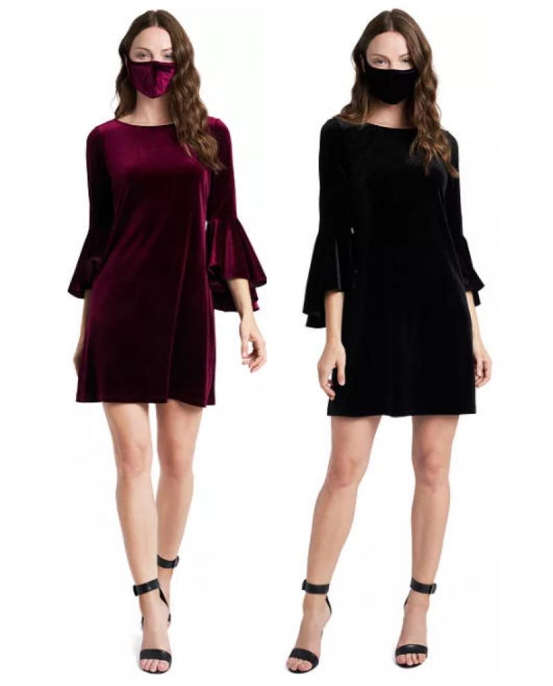 ihocon: MSK Velvet Bell-Sleeve Shift Dress & Face Mask 女士天鵝絨鐘袖洋裝及口罩