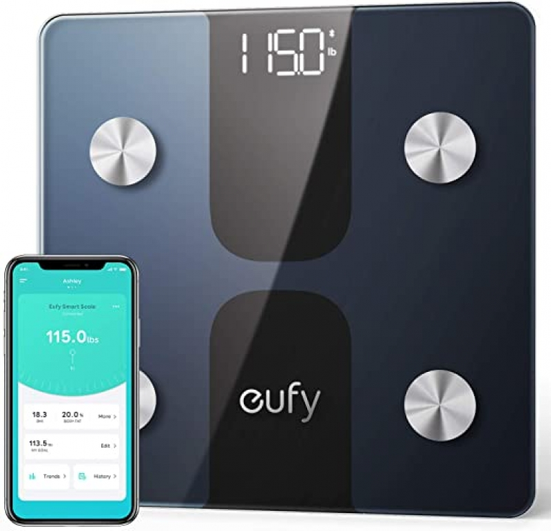 ihocon: eufy Smart Scale C1 with Bluetooth, Body Fat Scale, 12 Measurements, Weight/Body Fat/BMI, Fitness Body Composition Analysis藍牙體脂體重計