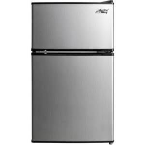 ihocon: Arctic King 3.2 Cu Ft Two Door Mini Fridge with Freezer, Stainless Steel 雙門不銹鋼小冰箱