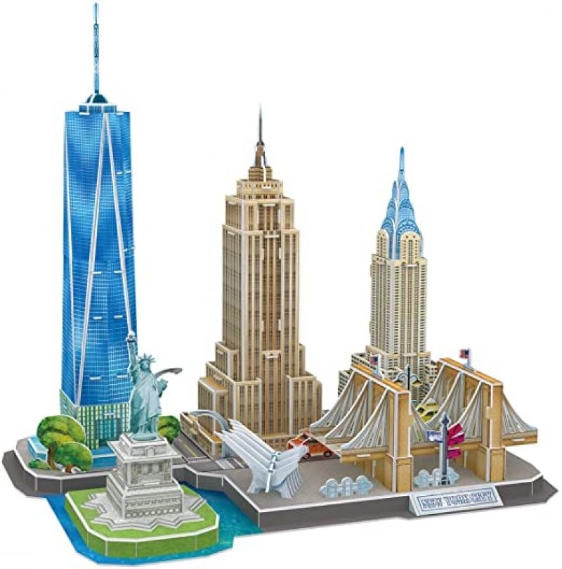 ihocon: CubicFun 3D Puzzles for Adults Newyork Cityline Architecture Building Model (123 Pieces)紐約城線立體拼圖