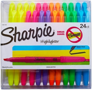 ihocon: Sharpie Accent Pocket Highlighters, Chisel Tip, Assorted Colored, 24-Count  熒光筆