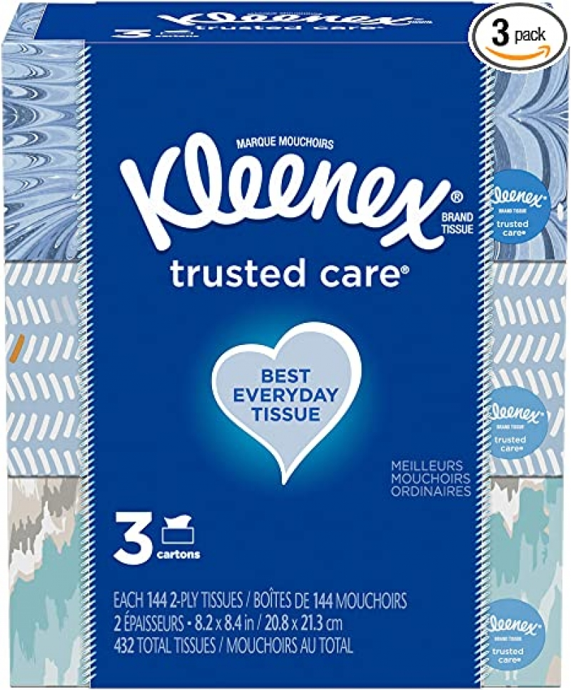 ihocon: Kleenex Trusted Care Everyday Facial Tissues, 3 Rectangular Boxes, 144 Tissues per Box (432 Tissues Total) 面紙