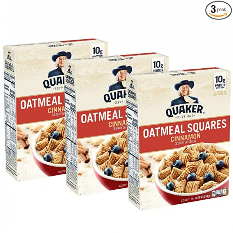 ihocon: Quaker Oatmeal Squares Breakfast Cereal, Cinnamon, (3 Pack) 桂格早餐片