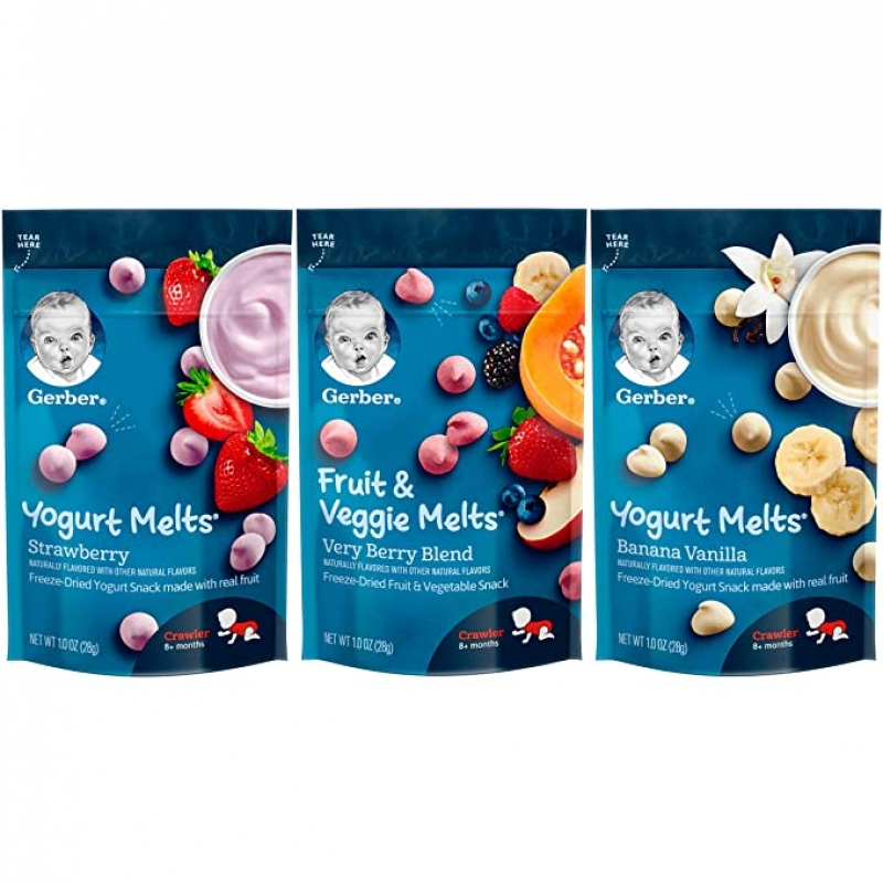 ihocon: Gerber Up Age Yogurt Melts & Fruit & Veggie Melts Assorted Variety Pack, 8Count 幼兒點心 8包