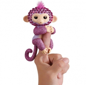 ihocon: WowWee Fingerlings Monkeys - Fingerblings - Glitz (Purple/Pink) - Friendly Interactive Toy 手指互動猴