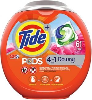 Tide PODS 4合1 洗衣膠囊61粒 2罐 $24.92, 算起來一罐才$12.46