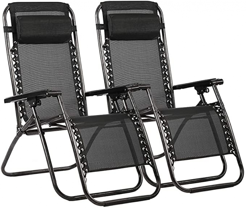 ihocon: FDW Zero Gravity Chair Patio Lounge Recliners, Set of 2 零重力休閒躺椅